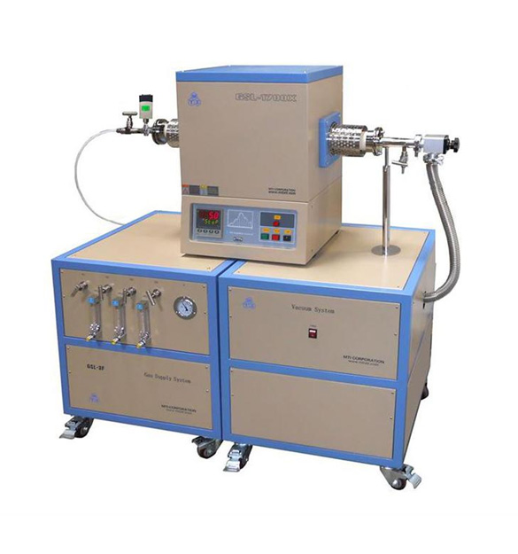 1700C Single Zone Alumina Tube Furnace with 3 Channel Gas Mixer, Vacuum Station, and Anti-Corrosive Vacuum Gauge - GSL-1700X-F3LV