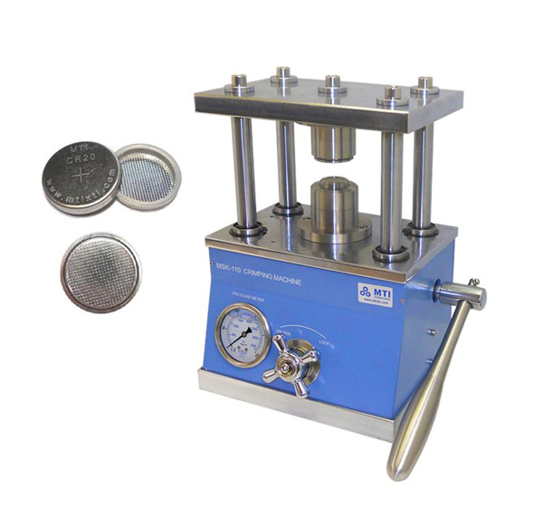 Hydraulic Crimper for All Types of Coin Cells with 100 Pcs CR2032 Case - MSK-110