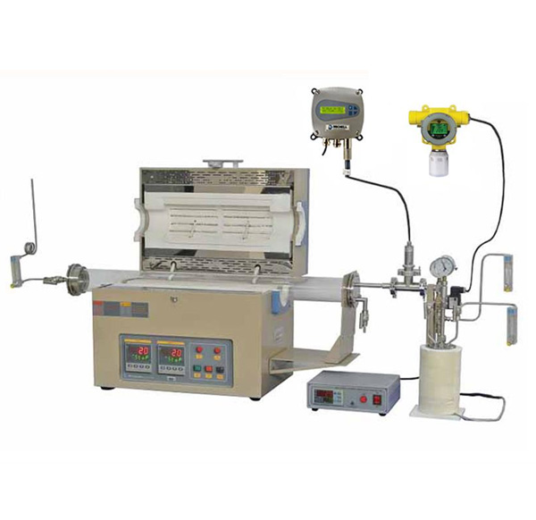 Two Zone 1200C Max. 80 mm OD Tube Furnace with Liquid Evaporator, Humidity & H2 Detectors and Shutoff Valve - OTF-1200X-II-80HG-UL
