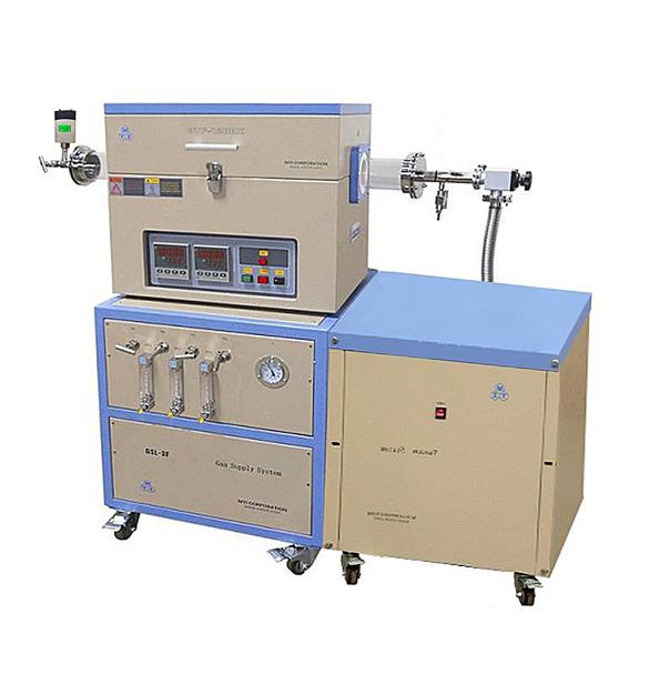 Dual Zone Quartz Tube Furnace (80mm Dia, 1200C Max) with 3-Ch Gas Mixer, Vacuum Pump, & Anti-Corrosive Vacuum Gauge - OTF-1200X-II-F3LV