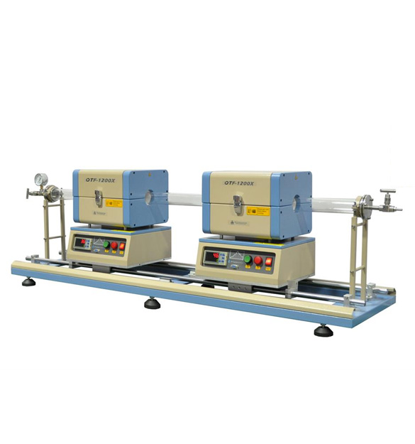 1200°C Max Dual Sliding Tube Furnace with 50 mm Tube Flanges for TCVD - OTF-1200X-S-50-DFSL