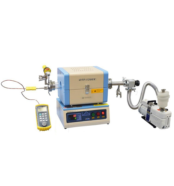 Compact Split Tube Furnace w/ Insert-able Temp Calibrator and Vacuum System - OTF-1200X-S-50-LVT