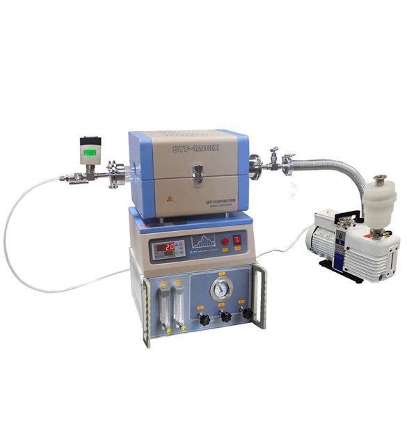 Mini CVD Tube Furnace with 2 Channel Gas Mixer, Vacuum Pump, and Vacuum Gauge - OTF-1200X-S50-2F