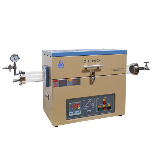 1200C Split Tube Furnace with Optional Quartz Tube 60, 70, 80, or 100 mm O.D. & Flange - OTF-1200X series